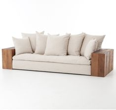 """Featured on HGTV Fixer Upper Texas Home """"Rustic Coastal"""". Our Dorset Industrial Loft Linen Sofa with Block Peroba Wood Arms is luxuriously casual comfort and modern bohemian look. Pallet Lounge, Diy Pallet Sofa, Diy Pallet Furniture, Diy Pallet Projects, Sofa Furniture, Furniture Covers, Furniture Design, Pallet Dining Table, Diy Outdoor Table"""