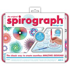 The Kahootz Spirograph Design Set with Tin has everything you need for hours of designing fun. With seven precision wheels included in this spirograph activity kit, you can create countless amazing de
