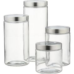 For pantry dry storage of grains, and beans. Glass Storage Containers with Stainless Steel Lids in Food Containers, Storage | Crate and Barrel