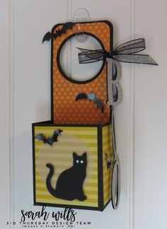 Thursday is here with a Halloween Door Hanger treat to BOO your friends & neighbors! Halloween Crafts For Kids, Halloween Cards, Halloween Stuff, Halloween Treats, Halloween Decorations, Boo Door Hanger, Boo's Door, Halloween Treat Holders, Halloween Door Hangers
