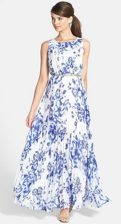 Flowing Chiffon Maxi Dress with a Cobalt Floral Print