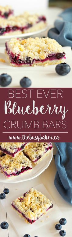 Made with fresh blueberries and a delicious shortbread-style streusel topping, these Blueberry Crumb Bars are irresistible! thebusybaker.ca via @busybakerblog