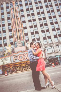 © Rachel Dwyer Photography • Jon and Kristin's Engagement Session • Detroit, MI  # #detroit #engagement #photos #ideas #fox #foxtheater #city #vintage #adorable #cute #pictures  #photography