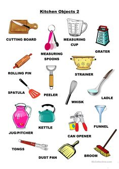 Kitchen Objects 2 - English ESL Worksheets for distance learning and physical classrooms English Verbs, Learn English Grammar, English Writing Skills, English Vocabulary Words, Learn English Words, English Phrases, English Lessons, Grammar Check, French Lessons