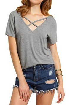 Rogi Women Blouses Sexy Cross V-Neck Femme Blouse Shirt Casual Solid Basic Tees Tops Blouse Casual T Shirts, Casual Tops, Fashion Looks, T Shirts For Women, Clothes For Women, Trending Outfits, Shorts, Criss Cross, Girls Tees