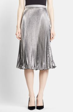 Metallic skirts are one of the seasons' biggest trends, and this Christopher Kane silvery lamé midi skirt is perfect for F/W '15. The delicately accordion pleats play up its light-catching effect. #nordstrom