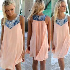 Damen Pink Chiffon Mini Kleider Partykleid Freizeitkleid Sommerkleid