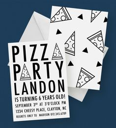 Modern Pizza Party Invitation by kandsdotco | Pizza Birthday Invitation, Black + White