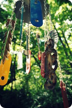 DIY Windchimes with found metal objects.