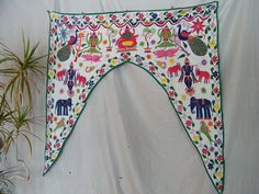 Hand Embroidered Antique Wall Hanging Door Way Arch by IndianBella, $125.00