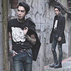 Get this look: http://lb.nu/look/7880426 More looks by IVAN Chang: http://lb.nu/ivan Items in this look: P&Co Tee, Asos Superskinnyjeans, Tastemaker 達新美 Coat, While Boots #artistic #street #vintage