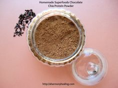 Learn how to make your own custom blended Homemade Superfoods Chocolate Chia Protein Powder packed with healing nutrients for vibrant health. Healthy Smoothies, Healthy Drinks, Smoothie Recipes, Healthy Snacks, Healthy Eating, Protein Snacks, Raw Food Recipes, Healthy Recipes, Cooking Recipes