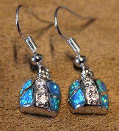 blue fire opal Cz earrings Gemstone silver jewelry cocktail drop dangle BV #DropDangle