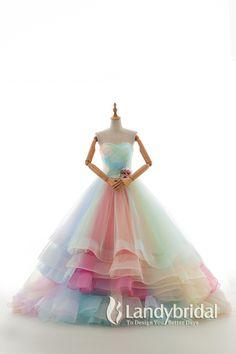 カラードレス プリンセス レインボードレス ハートネック グラデーション JWLT15067-26
