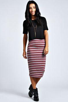 Mai Burgundy & Marl Striped Midi Skirt at boohoo.com
