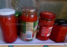 Bolognai szósz télire recept foto Canning Pickles, Bologna, Ketchup, Salsa, Soup, Jar, Recipes, Recipies, Salsa Music