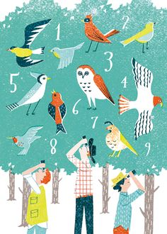 bird, tree, nature, counting, illustration, colour, layers, bird watching, texture, printmaking, screen print