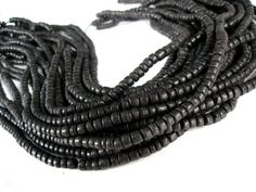 110 Black wood Beads  Coconut Rondelle by AnnyMayCraftSupplies, $3.15