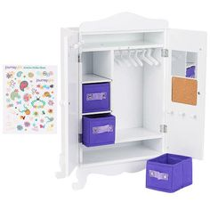 Store all of your Journey Girl's clothes and accessories in this convenient Wooden Armoire, only from Toys R Us! All of your needs are covered with this classic . American Girl Doll Gymnastics, American Girl Doll Room, American Girl Furniture, Cosas American Girl, My American Girl, Journey Girl Clothes, Journey Girls, Poupées Our Generation, Barbie Doll Set