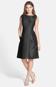 Alfred Sung Bateau Neck Bow Shoulder Dupioni Dress | Nordstrom