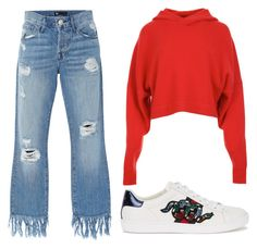 A fashion look from June 2017 featuring long sleeve shirts, torn jeans and snake sneakers. Browse and shop related looks. Shirt Sleeves, Long Sleeve Shirts, Torn Jeans, Gucci, Fashion Looks, Polyvore, Outfits, Shopping, Style