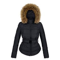 Poivre Blanc Quilted Faux Fur Womens Ski Jacket in Black £299.00 e3a37ed48