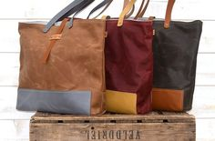 19 oz WAXED CANVAS Tote - leather TOTE bag dark khaki / Leather straps and bottom Unisex on Etsy, $147.25