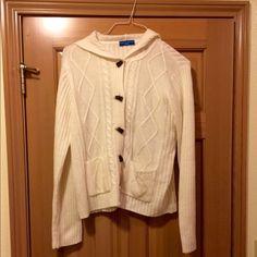 Karen Scott hooded sweater. Really cute Karen Scott's women's hooded sweater. Sweater is size medium and cream colored. Very soft! 100% acrylic. Karen Scott Sweaters