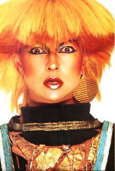 Toyah (Willcox) - Birmingham, England actress turned eighties artsy punk rocker. Later married Robert Fripp.