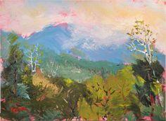Original Impressionist Landscape Painting, blue moutains,  fog, mist, woods, smokey mountains, by Russ Potak