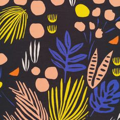 Voile Maldives by Leah Duncan Yucca Cloud 9 Collective OE 100 Certified Organic Cotton Black Voile Fabric Black Floral Voile Fabric by Owlanddrum on Etsy Textile Patterns, Textile Design, Fabric Design, Print Patterns, Textiles, Illustrations, Illustration Art, Stash Fabrics, Motif Floral