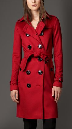 Burberry Cashmere Sandringham Trench, Parade Red - 2600, 1550