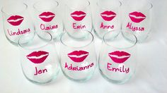 8 Bridesmaids Lips glasses, Bridesmaid and Maid of Honor gift idea, Hot pink lips, stemless wine glasses, wedding party glasses with name on Etsy, $88.00