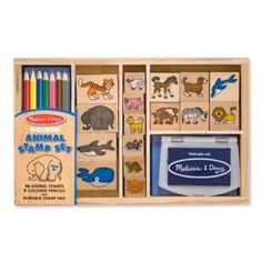This Animal stamp set has all your favorite animals. Includes 16 animal stamps, 7 colored pencils and a stamp pad. Mix and match these detailed, wooden stamps to create hundreds of beautiful scenes and more! Kids Stamps, Wooden Animals, Melissa & Doug, Coloured Pencils, Ink Pads, Stamp Collecting, Craft Kits, Toy Craft, Stamp Sets