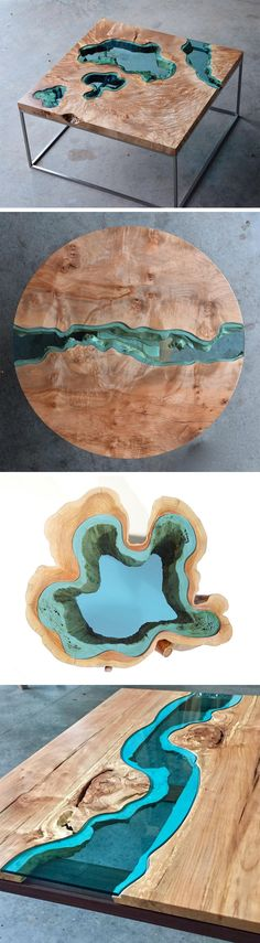 New Wood Tables and Wall Art Embedded with Glass Rivers and Lakes by Greg Klassen
