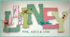 aqua,pink and green girl nursery | Wooden Letters for Nursery - PINK AQUA and LIME Theme-avail in any ...