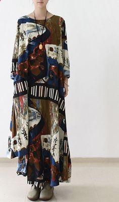 2016 fall brown floral long sleeve linen dresses asymmetrical long cotton dress plus size clothing