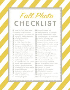 Printable Checklist - 50 photo ideas and photography prompts to help you capture the beauty of Fall