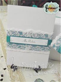 Tarjeta de Boda motivo marino en blanco y verde turquesa