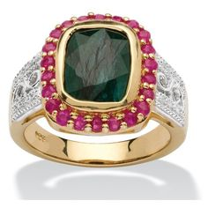 PalmBeach Jewelry Emerald and Ruby 14k Gold over Silver Ring ($130) ❤ liked on Polyvore featuring jewelry, rings, green, jewelry & watches, two tone gold rings, silver ruby ring, emerald ring, silver rings and green gold ring