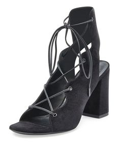 Babies+Suede+Lace-Up+Sandal,+Black+(Noir)+by+Saint+Laurent+at+Neiman+Marcus.