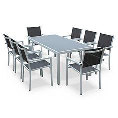 Alice's Garden - Salon de jardin en aluminium et textilène - Capua 180cm - Blanc, gris - 8 places - 1 grande table rectangulaire, 8 fauteuils empilables