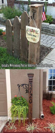 Install a welcoming post and fence from pallets or an address post plant hanger. Install a welcoming post and fence from pallets or an address post plant hanger. Outdoor Projects, Garden Projects, Outdoor Decor, Garden Ideas, Fence Ideas, Pergola Ideas, Outdoor Signs, Garden Boxes, Ideas Para El Patio Frontal