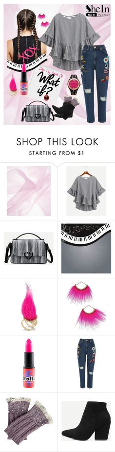 """""""What If?   - SheIn striped top"""" by pathwaysthroughtime ❤ liked on Polyvore featuring GALA, Betsey Johnson, MAC Cosmetics, River Island and Kim Rogers"""