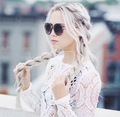 adorable, braid, braids, fashion, girl, girly, gorgeous, great, hair, hairstyle, lace, lipstick, long hair, makeup, nails, nice, outdoors, pigtails, pink, pink lips, pretty, quality, sunglasses, tumblr, tumblr hair, white, white hair, white lace