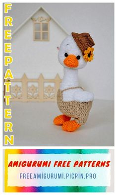 Little Cute Goose Amigurumi Free Pattern - Amigurumi Crochet Birds, Crochet Dolls, Free Crochet, Unicorn Pattern, Fox Pattern, Doll Amigurumi Free Pattern, Cute Dolls, Craft Projects, Crochet Patterns