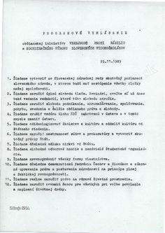 25. november 1989 programové vyhlásenie 12 bodov VPN a Koordinačný výbor slovenských vysokoškolákov - Hľadať Googlom November, Personalized Items, November Born