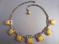 Retro Vintage Mod Necklace Square Yellow Thermoplastic Goldtone Adjustable #Unbranded #ModAdjustable