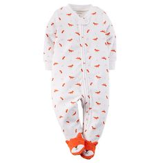 Got this in 6M -------    Carter's Boys White/Red Fox Printed Zip Up Terry Footie with Foot Detail   BabiesRUs