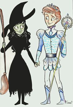 """well, the comment on this says """"Elphaba and Fiyero!!!"""" but i'm inclined to think it's a boy version of glinda...he never wore anything like that in the play (nor in the book if i remember correctly), and as for the staff...it's gotta be a male glinda..."""